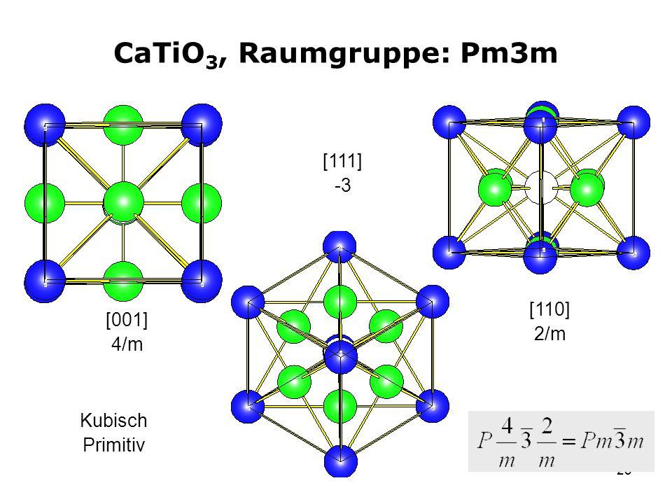 CaTiO3, Raumgruppe: Pm3m [111] -3 [110] 2/m [001] 4/m Kubisch Primitiv